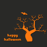 Halloween design with spooky tree and bat. Halloween design. Halloween orange and black background illustration with spooky tree and bat Royalty Free Stock Photos