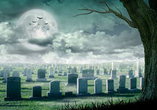 Halloween design - Spooky tree. Horror background with cemetery, and full moon. Space for your holiday text Royalty Free Stock Photography