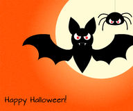 Halloween design template with bat, spider, moon and place for t Stock Photography