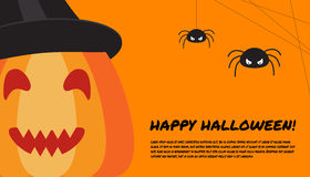 Halloween design template with pumpkin, spiders and place for te Stock Photos