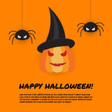 Halloween design template with pumpkin and spiders Stock Image