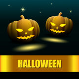 Halloween design with two pumpkin. With night sky Royalty Free Stock Image