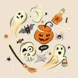 Halloween design vector decorations Royalty Free Stock Photos