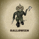 Halloween designs retro style background with with pumpkin kille Stock Photography