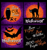 Halloween designs set (vector). Set of 3 grungy halloween backgrounds and greetings with cat, bats, owl and full moon; vector (eps8 royalty free illustration