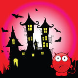 Halloween with devil cartoon vector Royalty Free Stock Photos