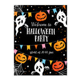 Halloween or Dia de los Muertos card, party invitation. Decoration with freaky pumpkins, party flags, ghosts, spiders net.Vector Stock Photo