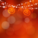 Halloween or Dia de los muertos card with pumpkin and lights,  Royalty Free Stock Photography