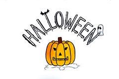 Halloween die op Witboek schrijven Stock Foto's