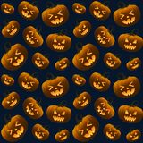 Different Halloween Pumpkins Dark Seamless Pattern royalty free stock image