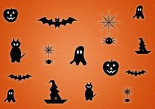 Halloween digitally illustrated orange background. For use as wallpaper or with text layout royalty free stock photos