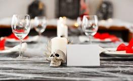 Halloween dinner table setting Stock Photo