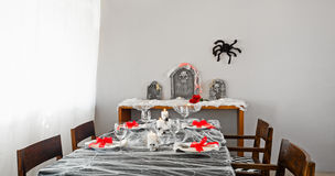 Halloween dinner table setup Royalty Free Stock Photo