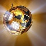 Halloween disco ball. 3d illustration Halloween disco ball on golden Stock Photography