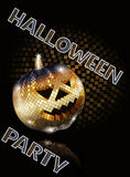 Halloween disco ball golden on black. Party Royalty Free Stock Photo