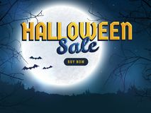Halloween sale. Web banner template. Halloween discount banner. Background with full moon, scary trees and bats silhouettes. Spooky night. Template for web Royalty Free Stock Images