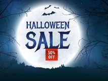 Halloween sale. Vector banner. Halloween discount banner. Background with full moon, scary trees and bats silhouettes. Spooky night. Template for web Royalty Free Stock Photos