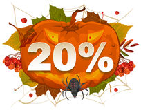 Halloween discount coupon of 20 percent. Halloween pumpkin sale Royalty Free Stock Photography