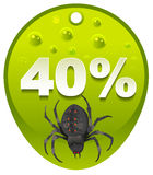 Halloween discount coupon 40 percent. Halloween spider label sale Stock Photo