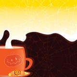 Halloween diseñó la taza con una bebida caliente en el fondo de un dar Ilustración del Vector