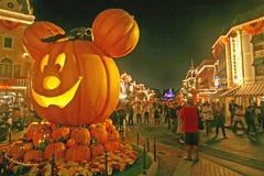 Halloween at Disneyland. ANAHEIM, CALIFORNIA - October 5, 2009 - Mickey Halloween Pumpkin in Main Street USA in Disneyland royalty free stock photos