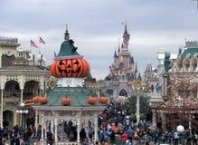 Halloween in Disneyland Paris. Pumpkins and Sleeping Beauty Castle Disneyland Paris during Halloween Royalty Free Stock Photography