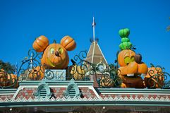 Halloween at Disneyland. Disneyland's entrance with character pumpkin decoration a month before Halloween royalty free stock photography