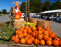 Halloween Display. A Halloween display sits amid flowers and pumpkins at a roadside market in southern Virginia stock image