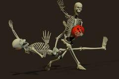 Halloween divertente mette in mostra il gioco del calcio con la zucca Fotografia Stock Libera da Diritti