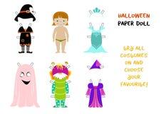 Halloween-document de vector van het poppenbeeldverhaal Royalty-vrije Stock Foto