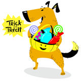 Halloween dog character. Cute pet with basket of sweets and cand. Ies. Trick or treat speech bubble. Cartoon vector illustration with cheerful dog Stock Photography