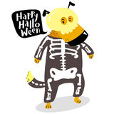 Halloween dog character in skeleton costume with skull and bones Royalty Free Stock Image