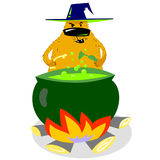 Halloween dog character in witch hat with boiling cauldron. Cartoon vector illustration with cute evil spooky pet Royalty Free Stock Photo