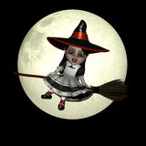 Halloween Doll 8 - Witchy. Happy witch doll flying on her broom in front of a brightly lit full moon vector illustration