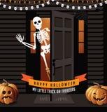 Halloween dom z dźwigarki o lampionami i falowanie koścem royalty ilustracja