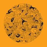 Halloween doodle art illustration. Editable stroke. royalty free illustration