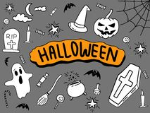 Halloween doodle with black background and colour full banner in center royalty free illustration