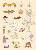Halloween doodle design elements Stock Photo
