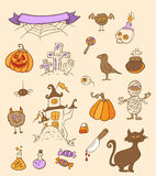 Halloween doodle design elements Stock Image