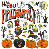 Halloween doodle elements set. colored Royalty Free Stock Image