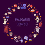 Halloween doodle icons. Round border out of colorful children's items. Halloween frame. Halloween background with scary silhouettes Royalty Free Stock Photography