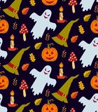 Halloween doodle icons seamless vector pattern Royalty Free Stock Photo