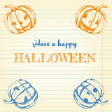 Halloween doodle - pumpkins. Halloween doodle set. Pumpkins drawn with pen on lined notebook paper. Vector illustration Royalty Free Stock Image