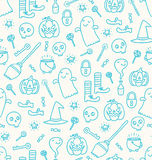 Halloween doodle seamless pattern royalty free illustration