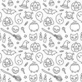 Halloween doodle seamless pattern Royalty Free Stock Photos