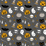 Halloween doodle seamless pattern Stock Photos