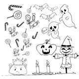 Halloween doodle set candy scarecrow pumpkins Royalty Free Stock Images