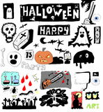 Halloween doodle set elements Stock Photo