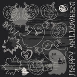 Halloween doodle set elements on black board. Stock Image