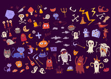 Halloween doodle set of scary elements for holidays. Stock Photo